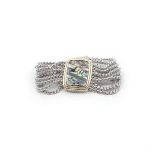 Designer Inspired Bracelet in Natural Abalone Stone with Magnetic Closure