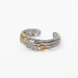 Designer Inspired Gold and Silver Bamboo Cuff with CZ