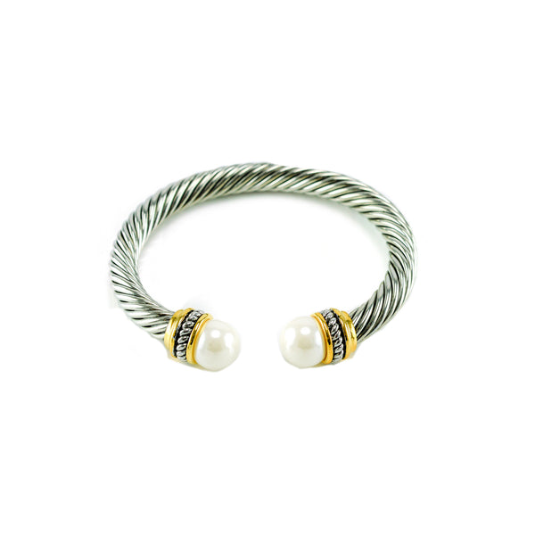 Designer Inspired Pearl Silver Cable Cuff Bracelet
