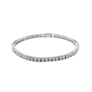 Traditional Rhodium Plated Tennis Bracelet with 3mm Round Cut CZ