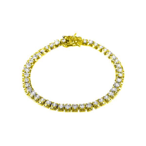 Gold Plated 3mm Clear Round Cut CZ Tennis Bracelet