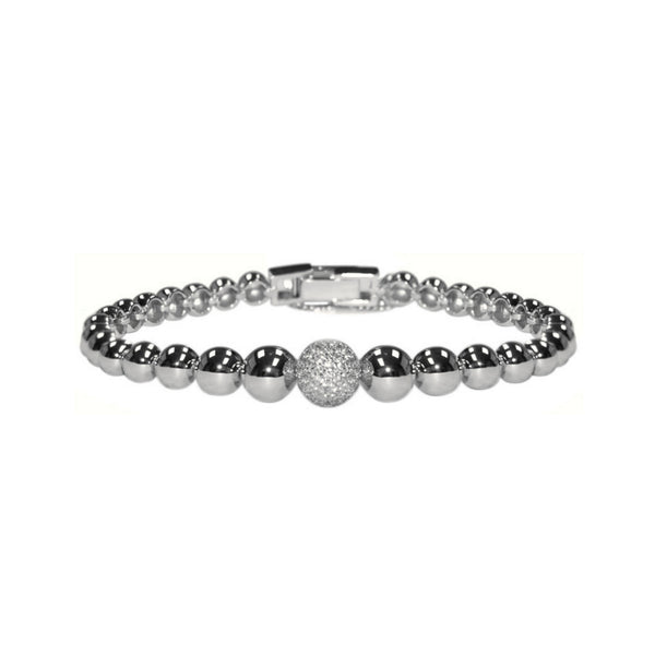 Circle Link Rhodium Plated Bracelet