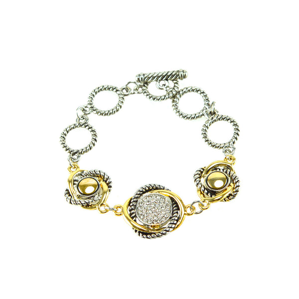 "Pave Love Knot 6.5"" Cuff Bracelet in Gold and Silver"