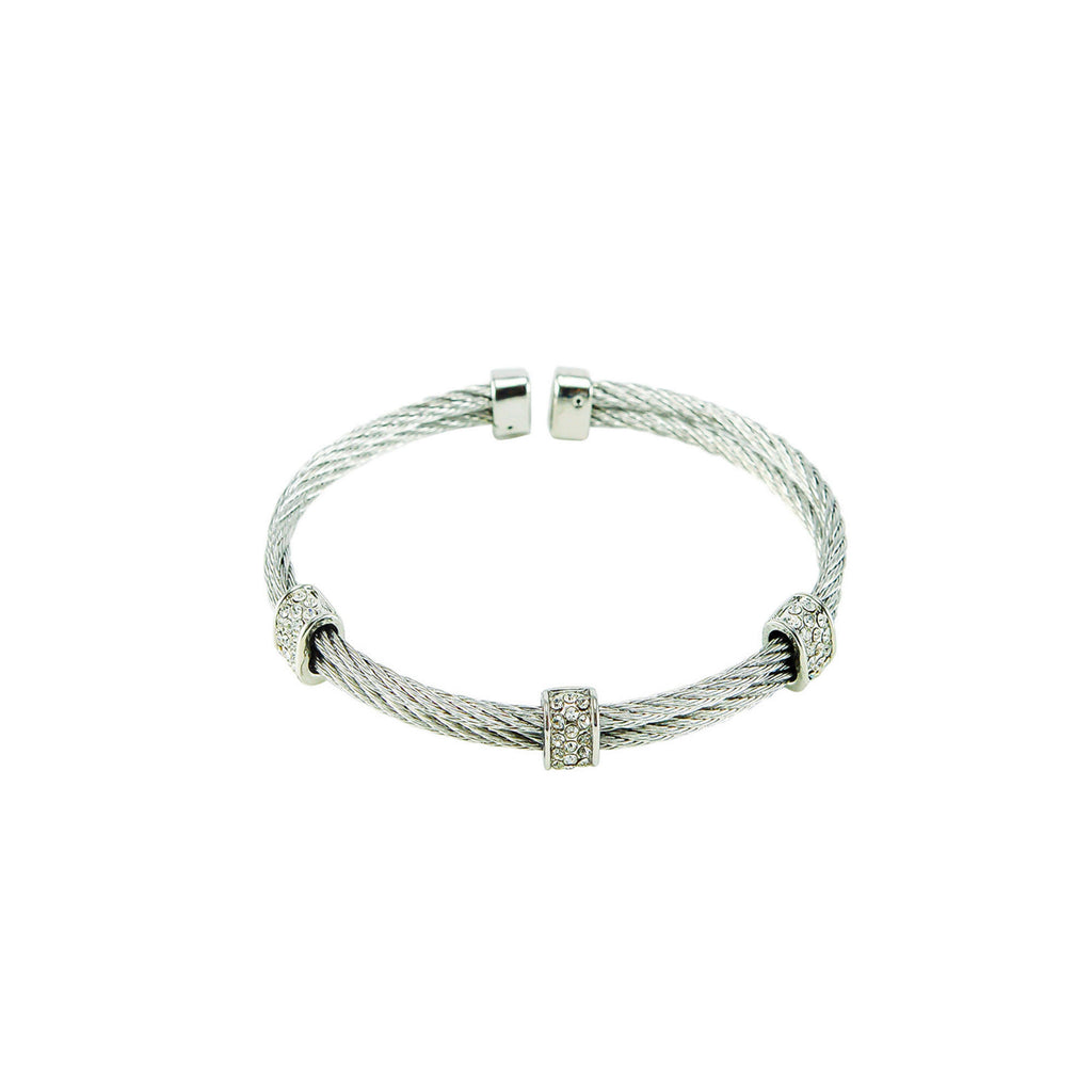 Designer Inspired Rhodium Pave Double Row Cable Cuff Bracelet