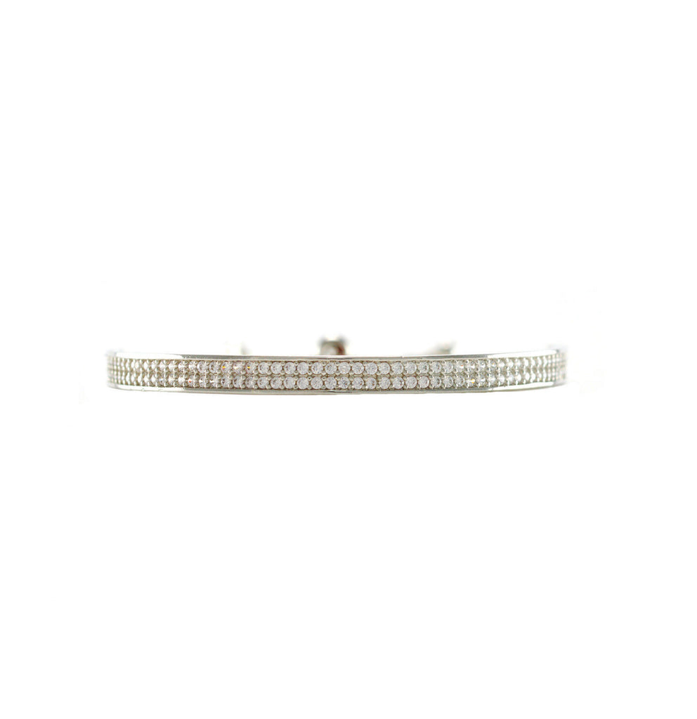 Rhodium Plated Clear Round Cut CZ Double Row Channel Bracelet with Adjustable Pull