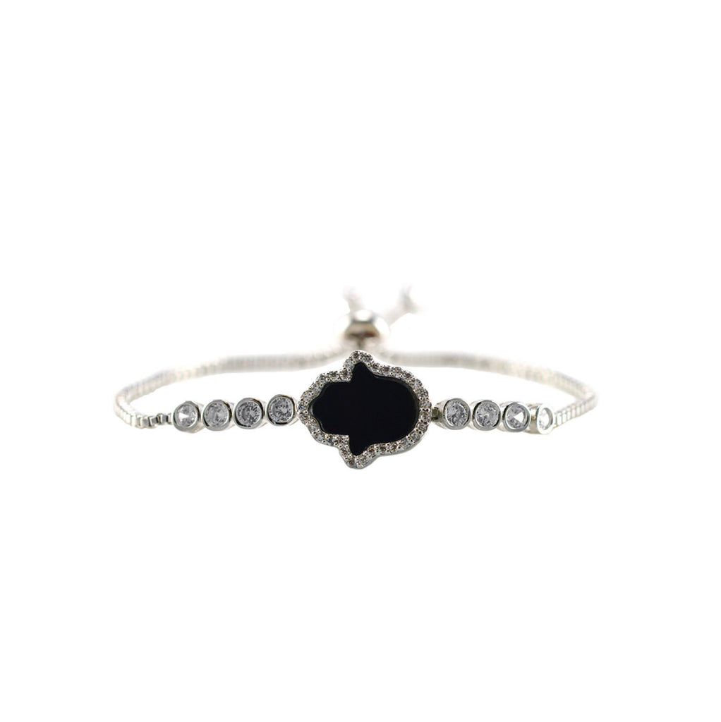 Hamsa in Black with Round Cut CZ Bezel Setting Bracelet with Adjustable Pull