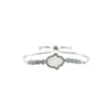 Hamsa in White with Round Cut CZ Bezel Setting Bracelet with Adjustable Pull