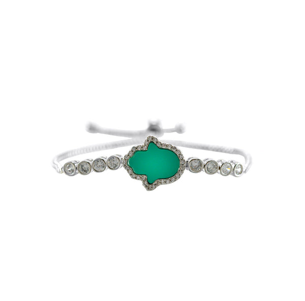 Hamsa in Turquoise with Round Cut CZ Bezel Setting Bracelet with Adjustable Pull