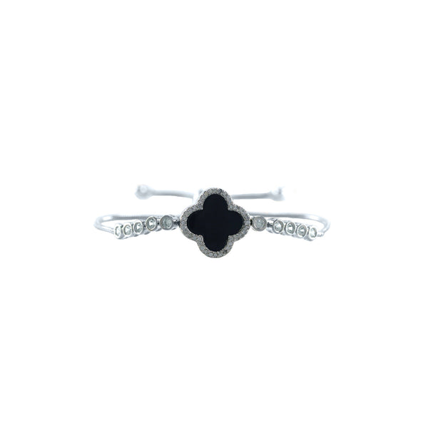 Designer Inspired Clover Pull Bracelet in Black Enamel Finish