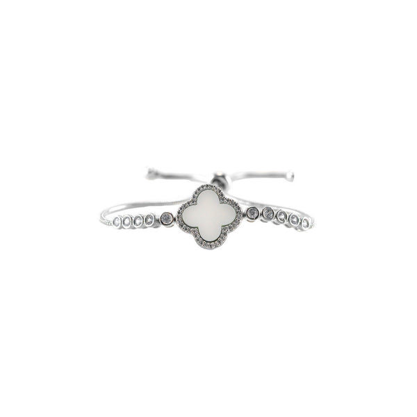 Designer Inspired Clover Pull Bracelet in White Enamel Finish