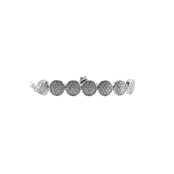 Round CZ Pave Bracelet with Adjustable Pull Closure