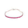 Tennis Bracelet with Rose Red Gem Stones