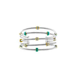 Open Wire Five Row Cable Cuff Bracelet
