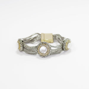 Designer Inspired Mother of Pearl Station Bracelet