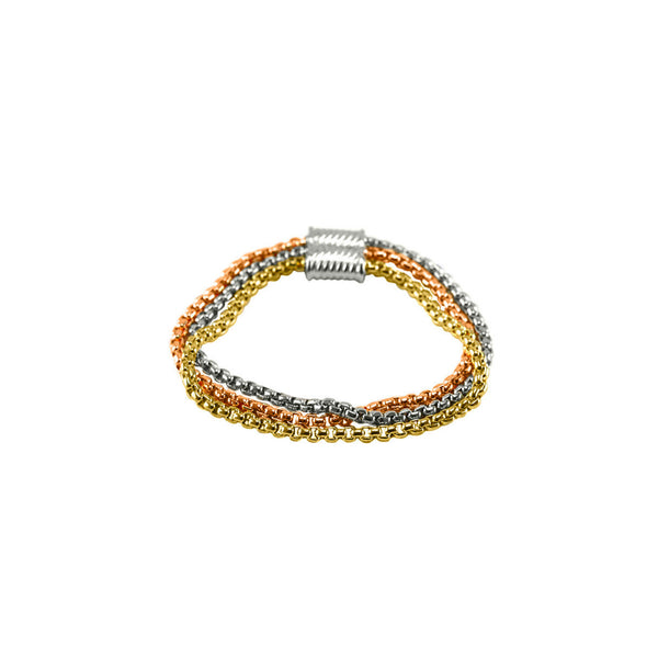 Designer Inspired Tri-Color Chain Bracelet in Silver, Gold and Rose Gold