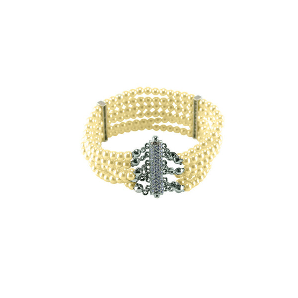Layered Pave Pearl Bracelet with CZ Accents