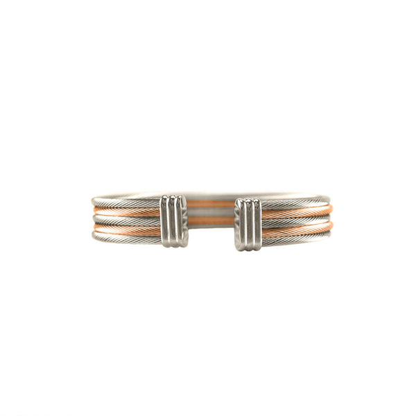 Designer Inspired Rose Gold and Rhodium Surgical Steel Cable Cuff Bracelet