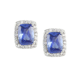 Tanzanite Cushion Earrings with Pave Accents