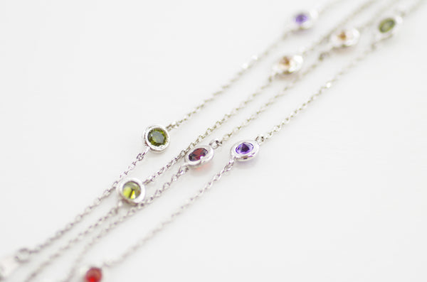 "By The Yard 24"" Necklace in Silver with Multicolor Stones"