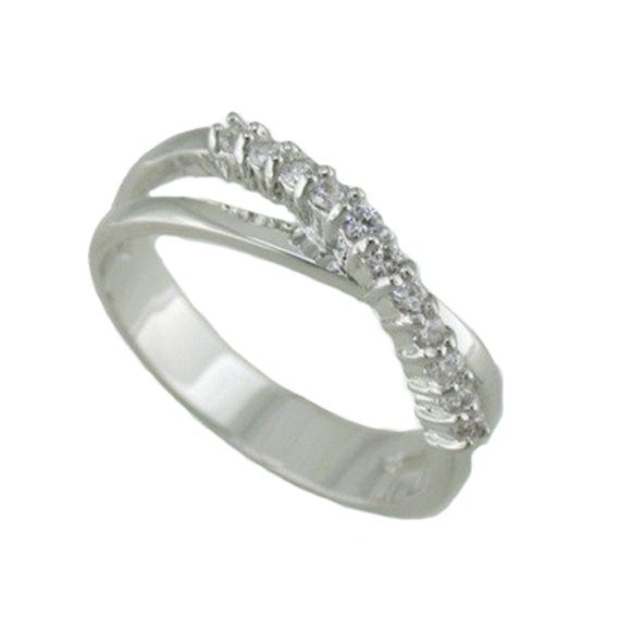 Rhodium White Gold Classic Twist With Pave Set Stones