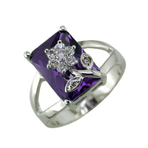 Designer Inspired Amethyst Flower Design Ring
