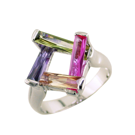 Basket Style Baguette Ring Multi Color Stones