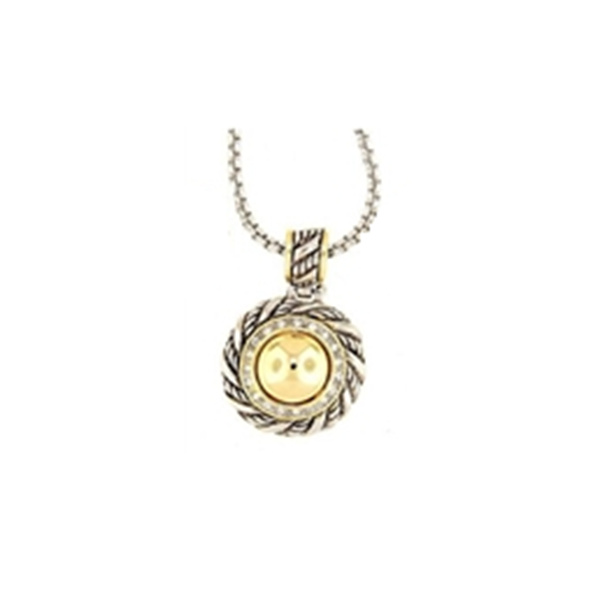 DESIGNER TWO TONE GOLD DOME NECKLACE