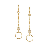 Open Air Gold Pendant Drop Earrings with CZ Accents