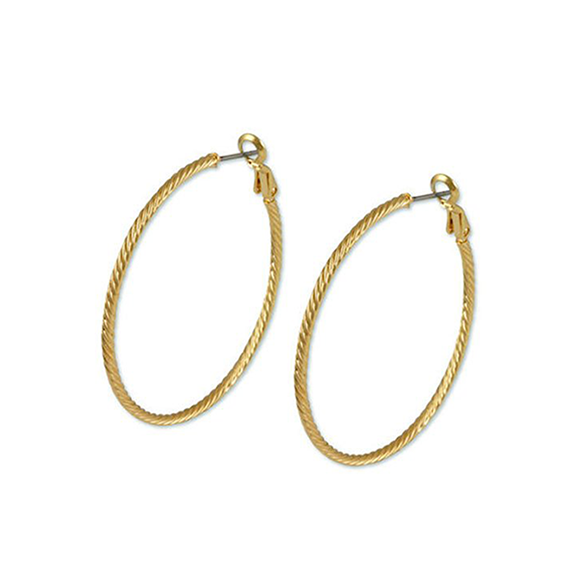 Designer inspired 40 mm hoops in gold
