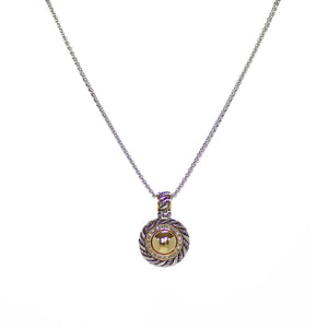 Designer Inspired Cable Pendant with CZ Stone Accents