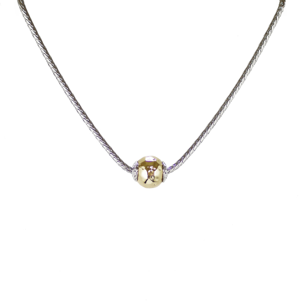 Designer Inspired Hammered Gold Ball Necklace