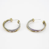 Designer Inspired Two-Tone Crossover Hoops