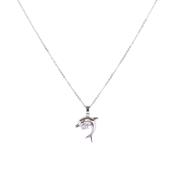 Rhodium Plated Dolphin With CZ Stone