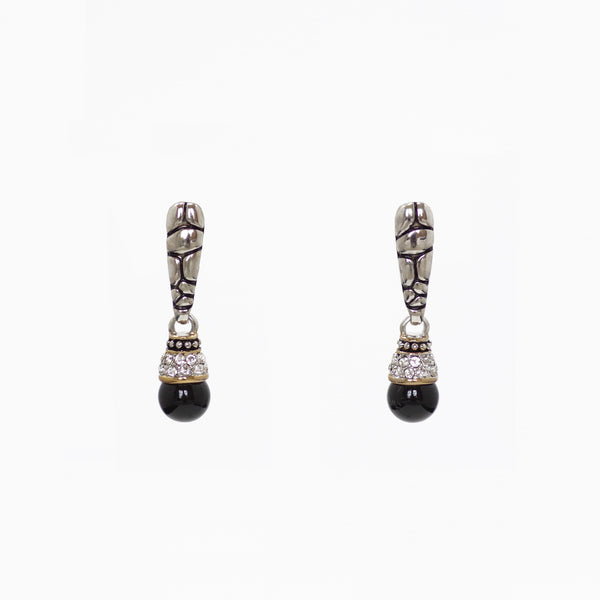 Designer Inspired Drop Earrings in Black