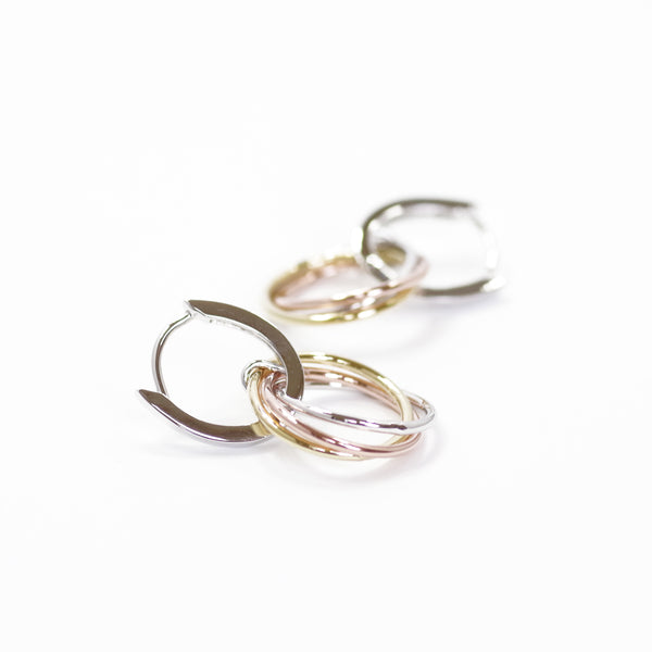 Designer Inspired Tricolor Loop Circle Earrings