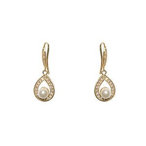 designer inspired pearl fishhook pave earrings on sale