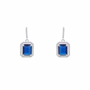Sapphire Emerald Cut Micro Pave CZ Earrings