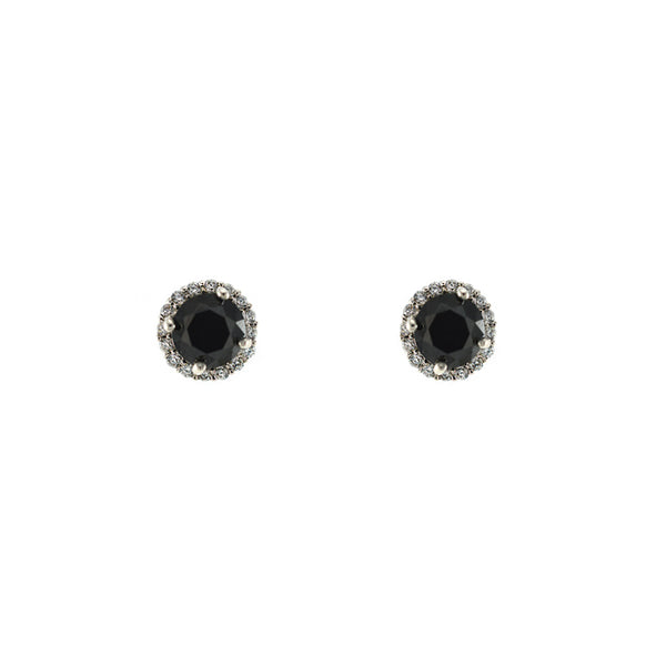 Pave Halo Black Onyx CZ Stone Solitaire Studs in Rhodium