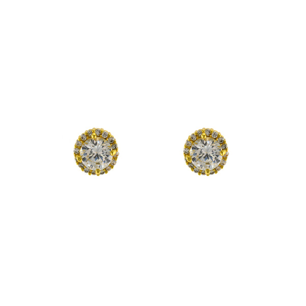 Pave Halo Clear CZ Stone Solitaire Studs in Gold
