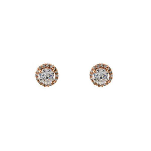 Pave Halo Clear CZ Stone Solitaire Studs in Rose Gold