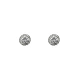 Pave Halo Clear CZ Stone Solitaire Studs in Rhodium