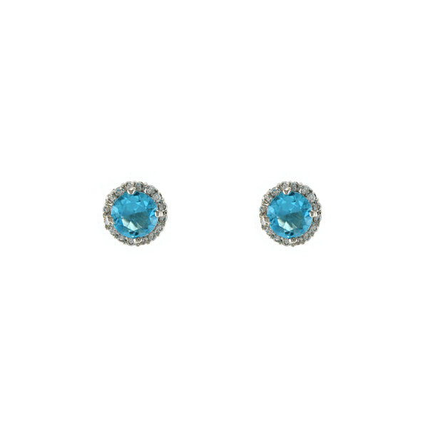 Pave Halo Turquoise Blue CZ Stone Solitaire Studs in Rhodium