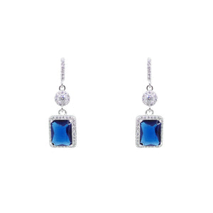 Sapphire Princess Cut Micro Pave CZ Earrings