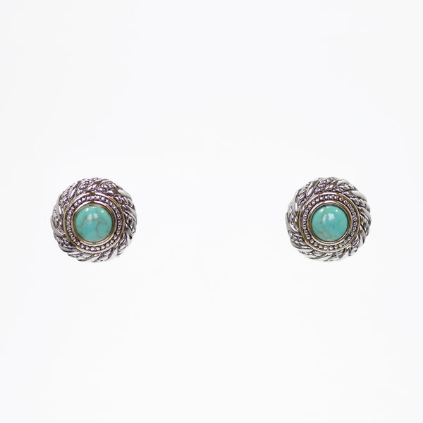Designer Inspired Turquoise Halo Earrings