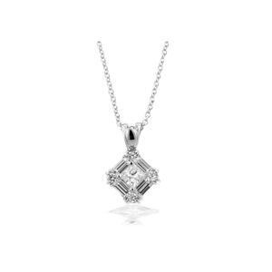 Emerald Cut CZ with Brilliant Accents in Silver Necklace