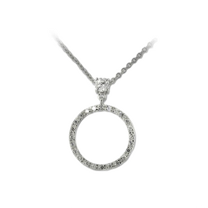 Forever Love Circle Drop Pendant with 1/4 CT Solitaire CZ