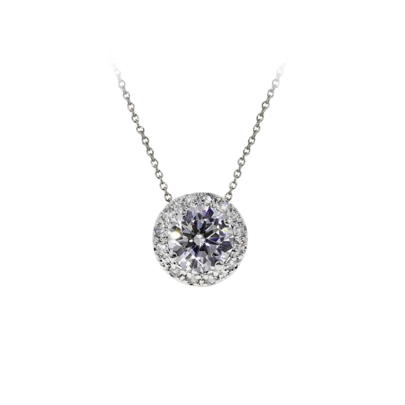 Halo Silver Necklace with 2.5 CT CZ Stone