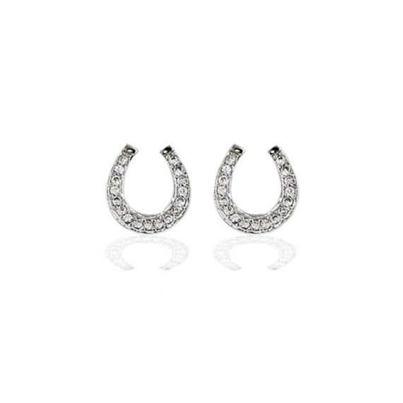 Pave Horseshoe Stud Earrings in Sterling Silver