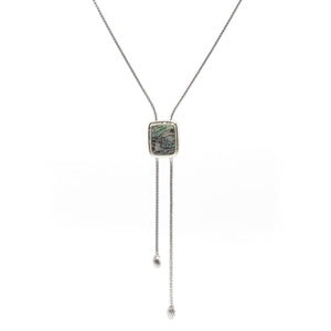 Designer Inspired Lariat with Natural Abalone Stone