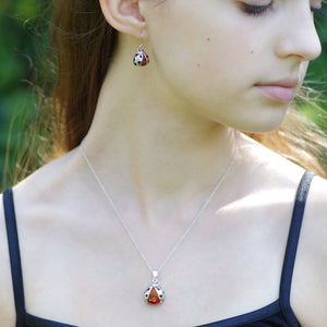 Ladybug garnet 2 Piece Gift Set of Necklace and Earrings